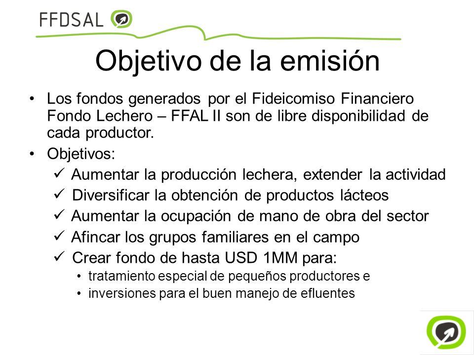 Objetivo de la emisión Los fondos generados por el Fideicomiso Financiero Fondo Lechero – FFAL II son de libre disponibilidad de cada productor.