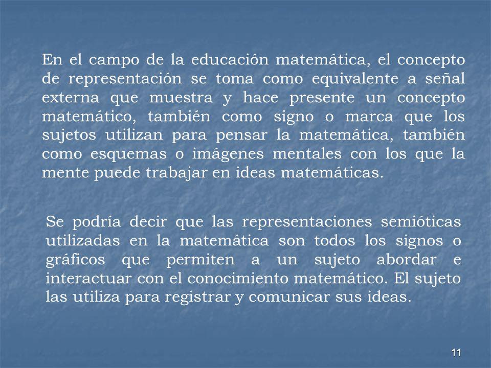 En el campo de la educación matemática, el concepto de representación se toma como equivalente a señal externa que muestra y hace presente un concepto matemático, también como signo o marca que los sujetos utilizan para pensar la matemática, también como esquemas o imágenes mentales con los que la mente puede trabajar en ideas matemáticas.