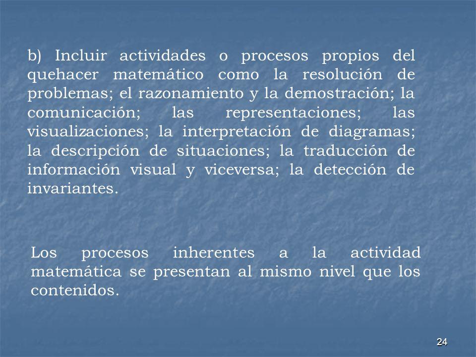 b) Incluir actividades o procesos propios del quehacer matemático como la resolución de problemas; el razonamiento y la demostración; la comunicación; las representaciones; las visualizaciones; la interpretación de diagramas; la descripción de situaciones; la traducción de información visual y viceversa; la detección de invariantes.
