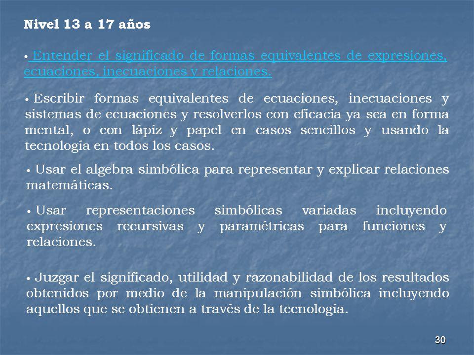 Nivel 13 a 17 años Entender el significado de formas equivalentes de expresiones, ecuaciones, inecuaciones y relaciones.