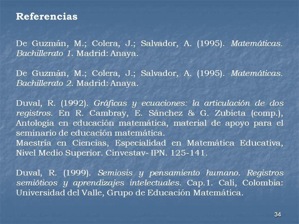 Referencias De Guzmán, M.; Colera, J.; Salvador, A. (1995). Matemáticas. Bachillerato 1. Madrid: Anaya.