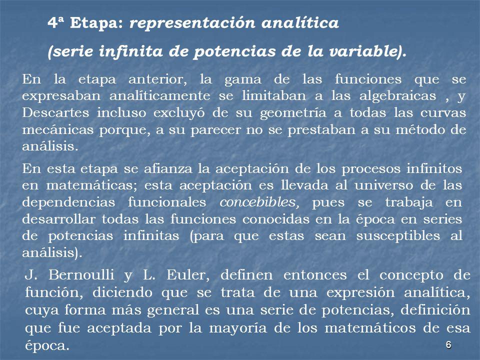 4ª Etapa: representación analítica