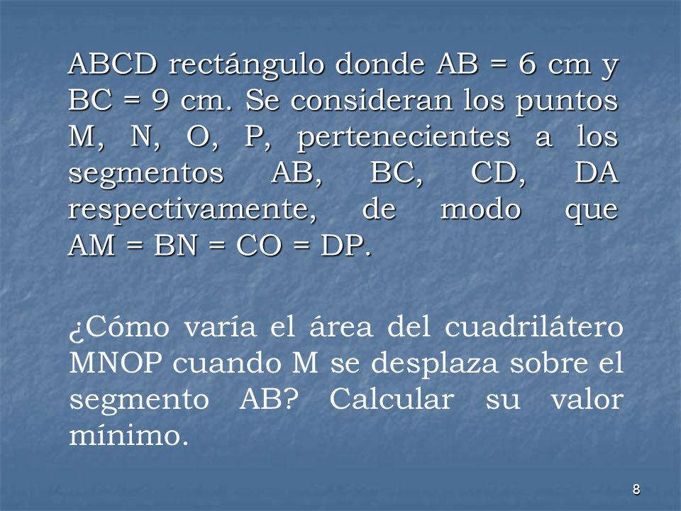 ABCD rectángulo donde AB = 6 cm y BC = 9 cm