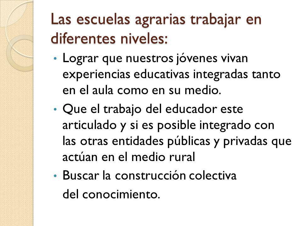 Las escuelas agrarias trabajar en diferentes niveles: