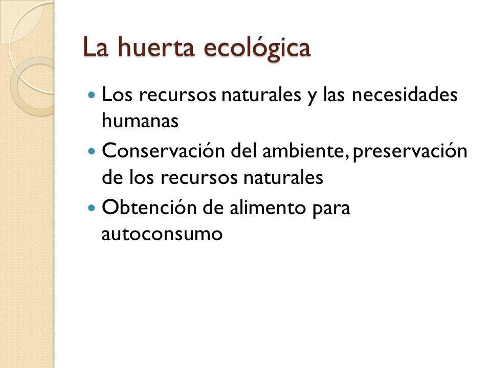 La huerta ecológica Los recursos naturales y las necesidades humanas