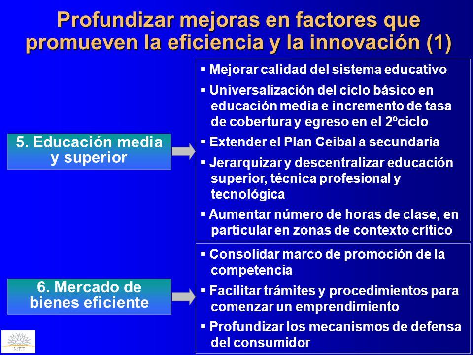 5. Educación media y superior 6. Mercado de bienes eficiente