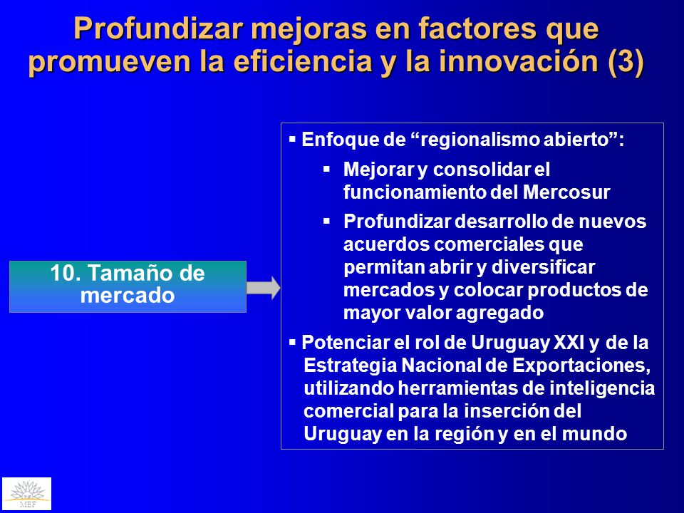 Profundizar mejoras en factores que promueven la eficiencia y la innovación (3)