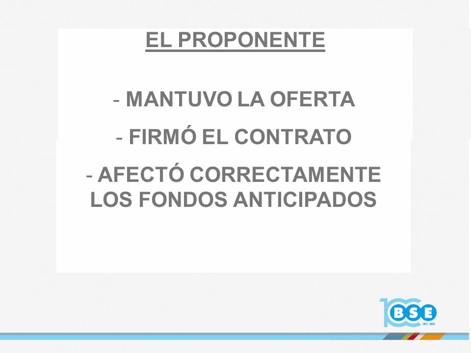 AFECTÓ CORRECTAMENTE LOS FONDOS ANTICIPADOS