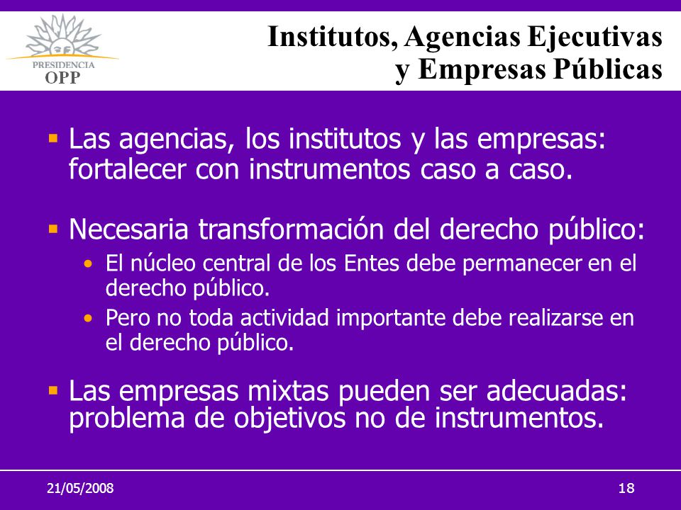 Institutos, Agencias Ejecutivas y Empresas Públicas