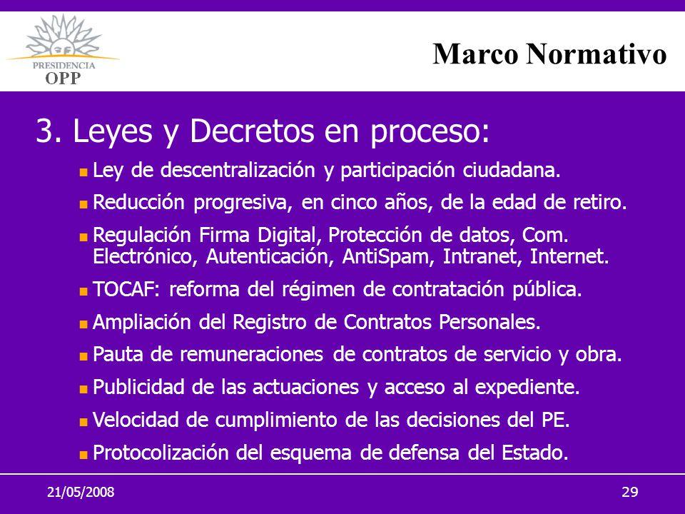 3. Leyes y Decretos en proceso: