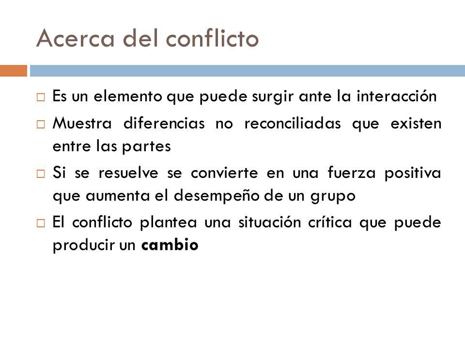 Acerca del conflicto Es un elemento que puede surgir ante la interacción. Muestra diferencias no reconciliadas que existen entre las partes.