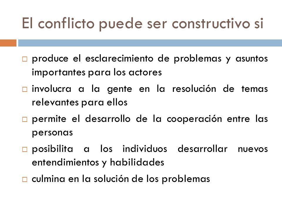 El conflicto puede ser constructivo si