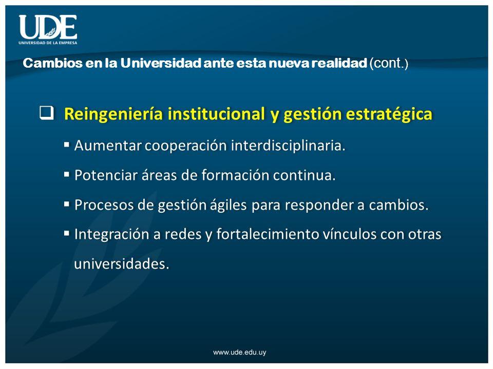 Reingeniería institucional y gestión estratégica