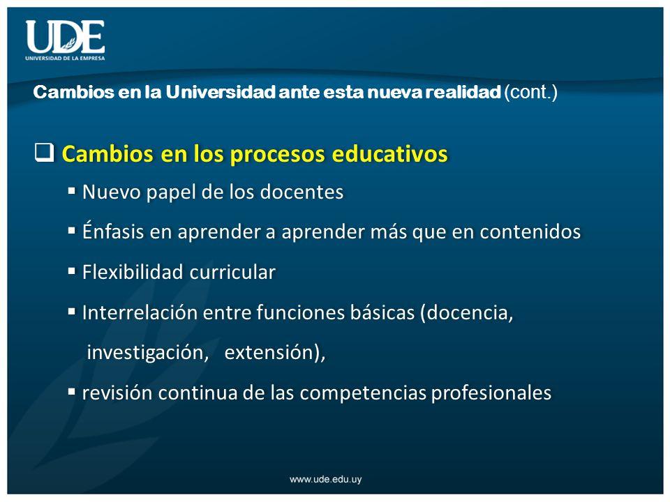 Cambios en los procesos educativos