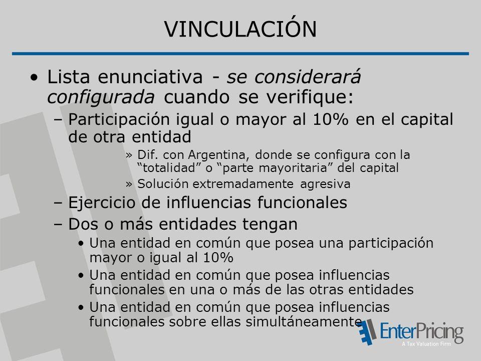 VINCULACIÓN Lista enunciativa - se considerará configurada cuando se verifique: Participación igual o mayor al 10% en el capital de otra entidad.