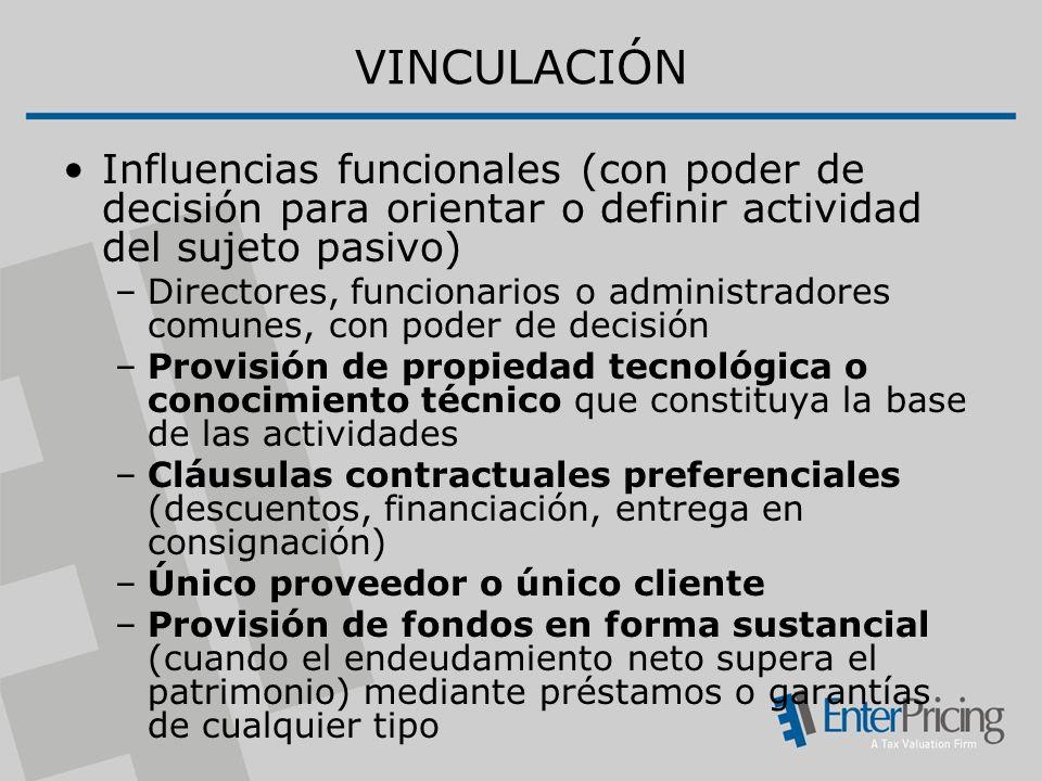 VINCULACIÓN Influencias funcionales (con poder de decisión para orientar o definir actividad del sujeto pasivo)