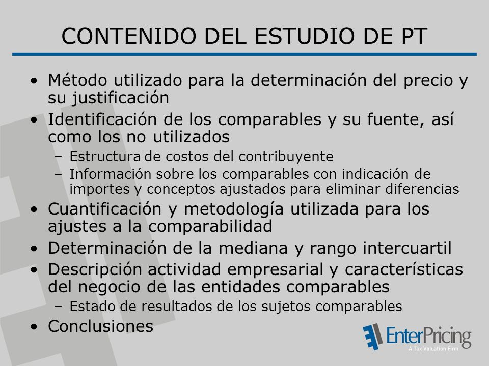 CONTENIDO DEL ESTUDIO DE PT