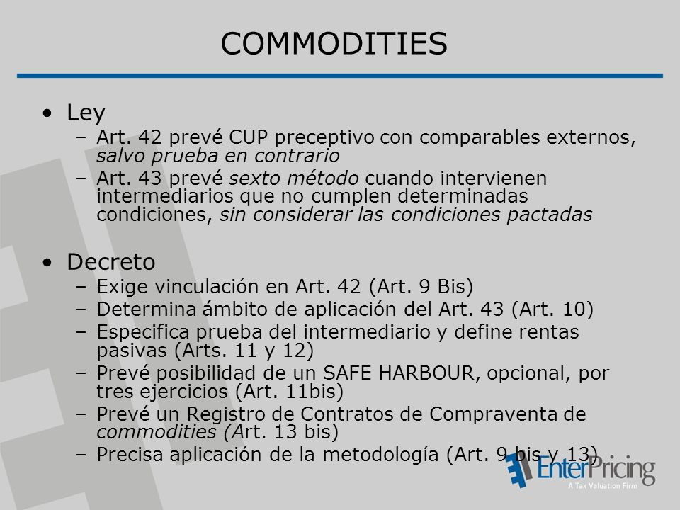 COMMODITIES Ley Decreto