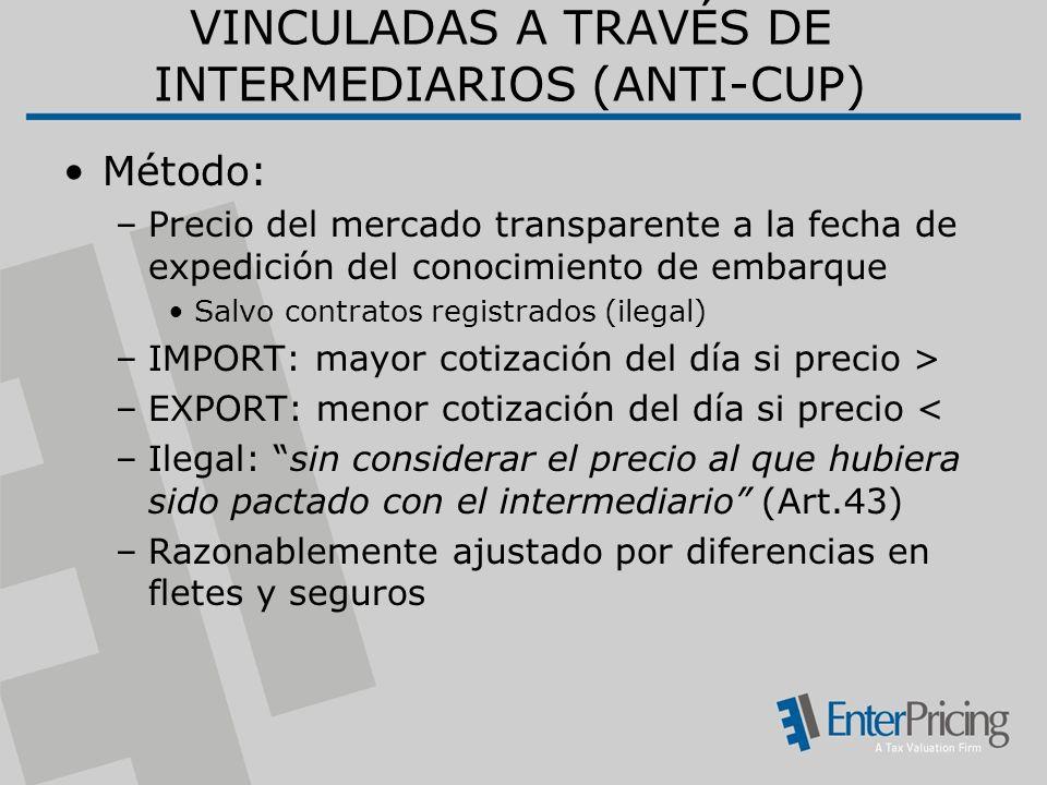 VINCULADAS A TRAVÉS DE INTERMEDIARIOS (ANTI-CUP)