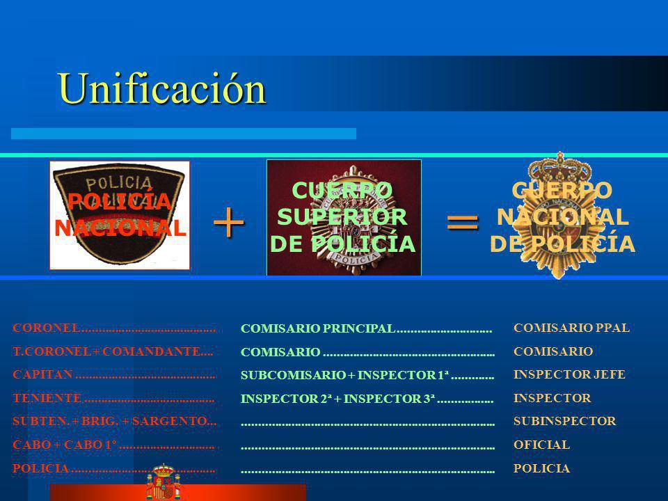 + = Unificación CUERPO SUPERIOR DE POLICÍA CUERPO NACIONAL DE POLICÍA