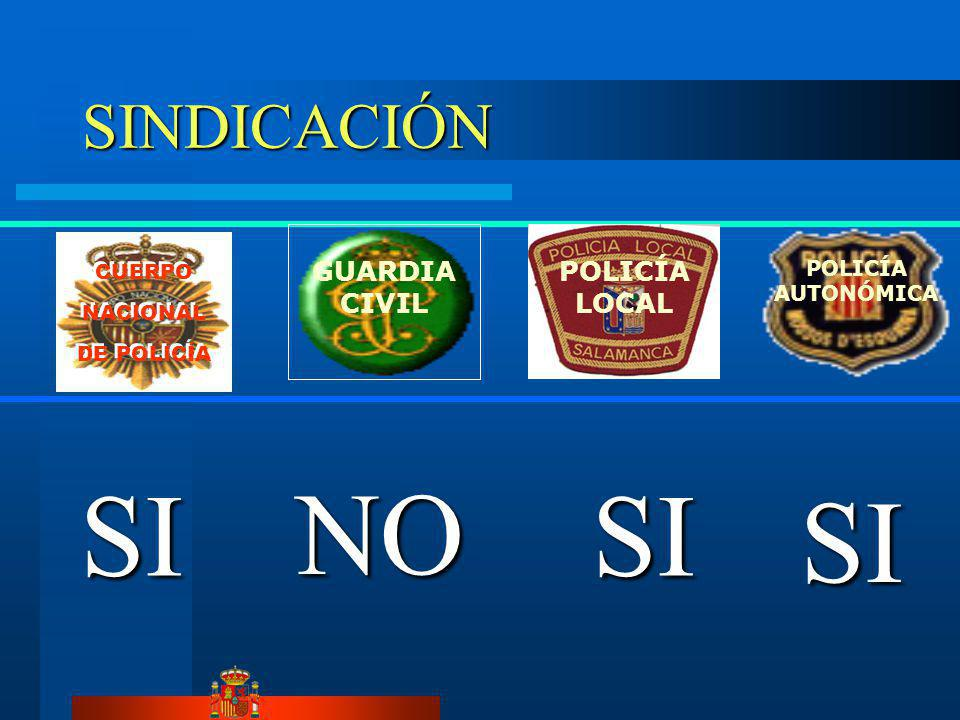 SI NO SI SI SINDICACIÓN GUARDIA CIVIL POLICÍA LOCAL POLICÍA AUTONÓMICA