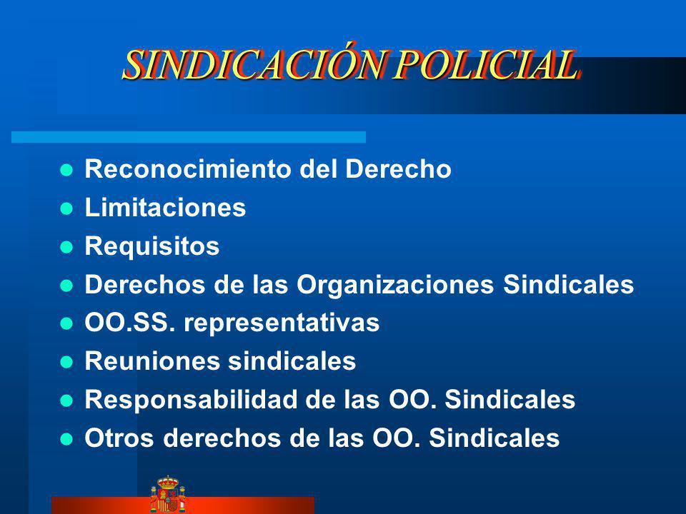 SINDICACIÓN POLICIAL Reconocimiento del Derecho Limitaciones