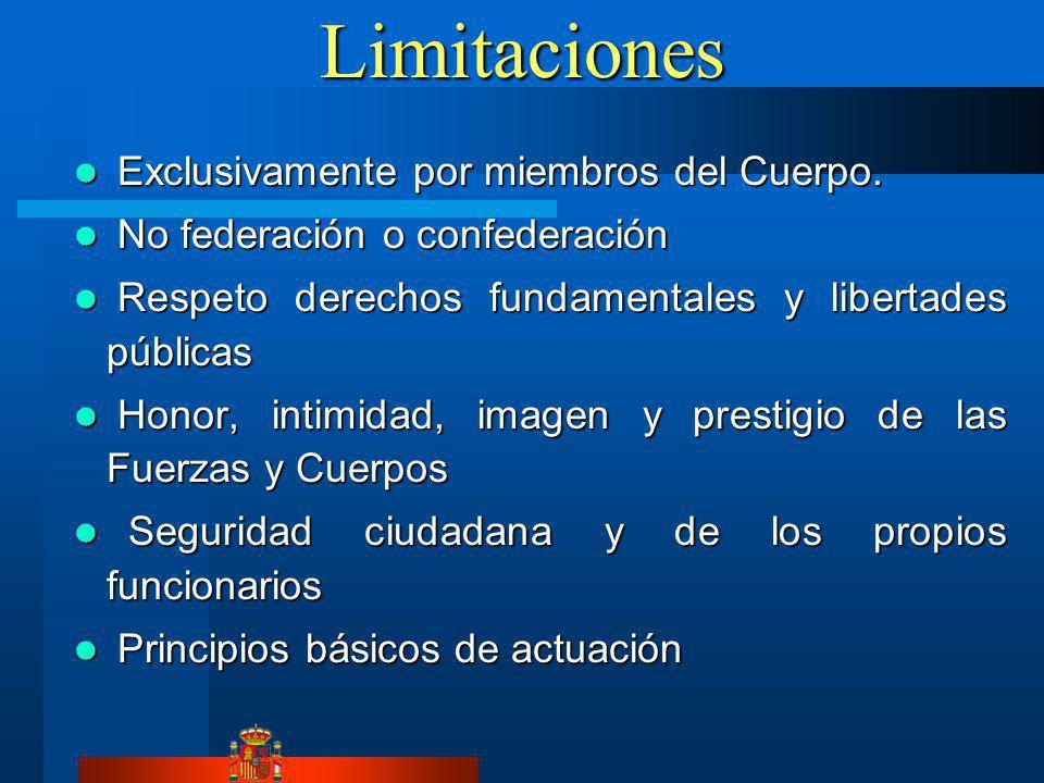 Limitaciones Exclusivamente por miembros del Cuerpo.