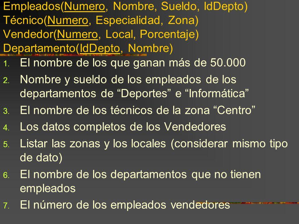 Empleados(Numero, Nombre, Sueldo, IdDepto) Técnico(Numero, Especialidad, Zona) Vendedor(Numero, Local, Porcentaje) Departamento(IdDepto, Nombre)