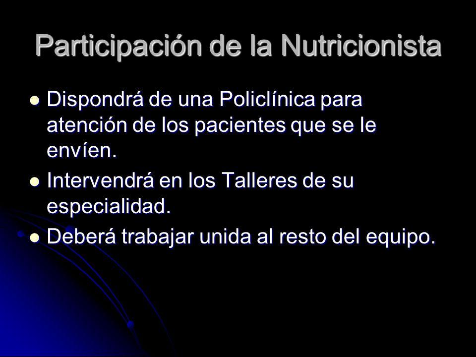 Participación de la Nutricionista