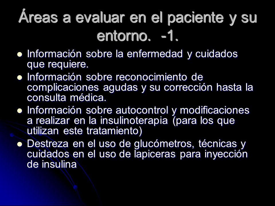 Áreas a evaluar en el paciente y su entorno. -1.