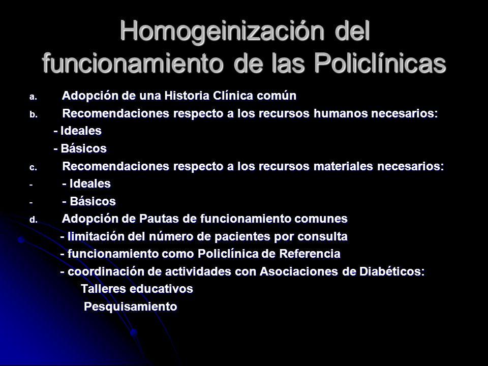 Homogeinización del funcionamiento de las Policlínicas