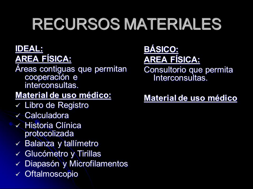 RECURSOS MATERIALES IDEAL: BÁSICO: AREA FÍSICA: AREA FÍSICA: