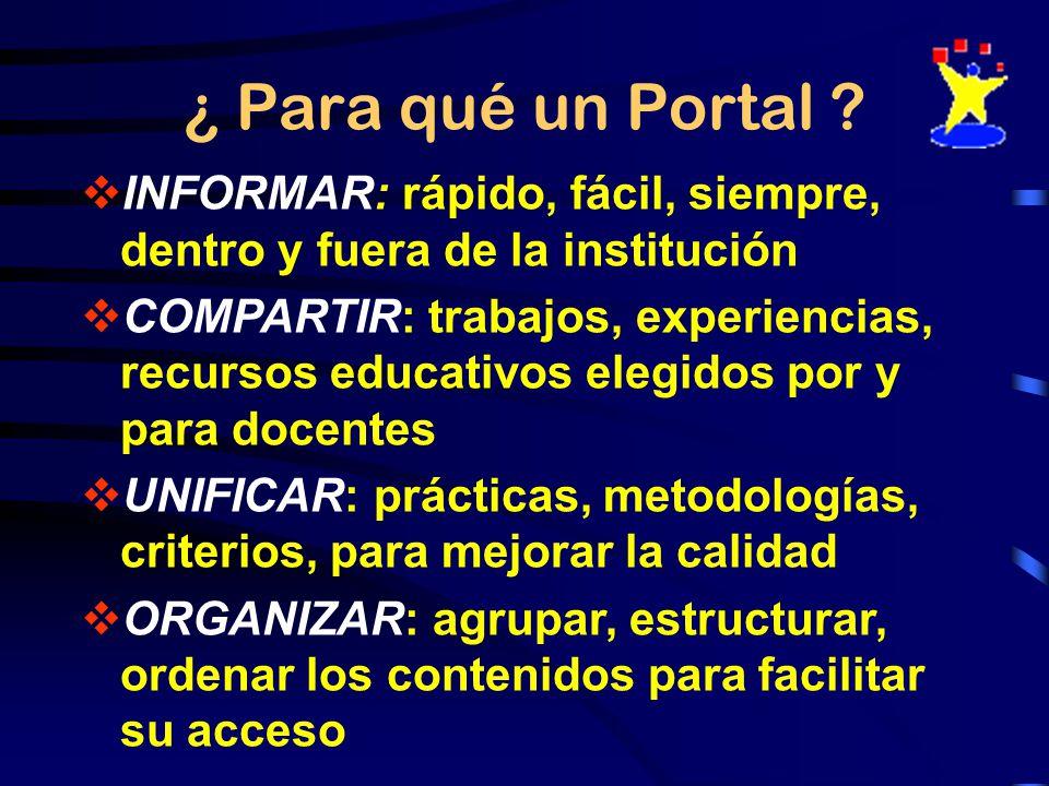 ¿ Para qué un Portal INFORMAR: rápido, fácil, siempre, dentro y fuera de la institución.
