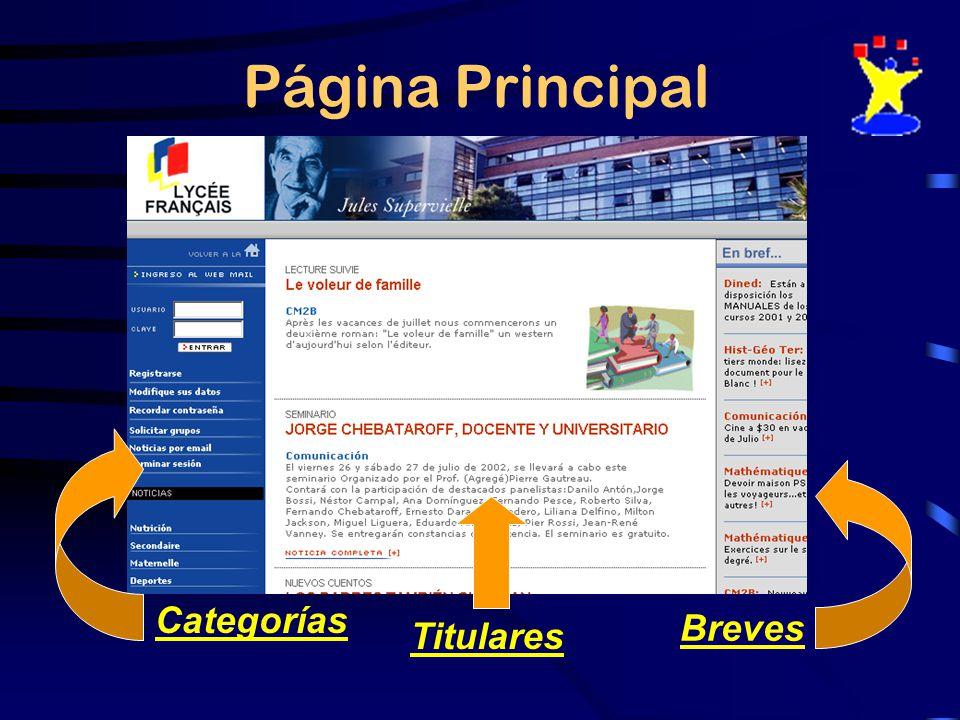 Página Principal Categorías Breves Titulares