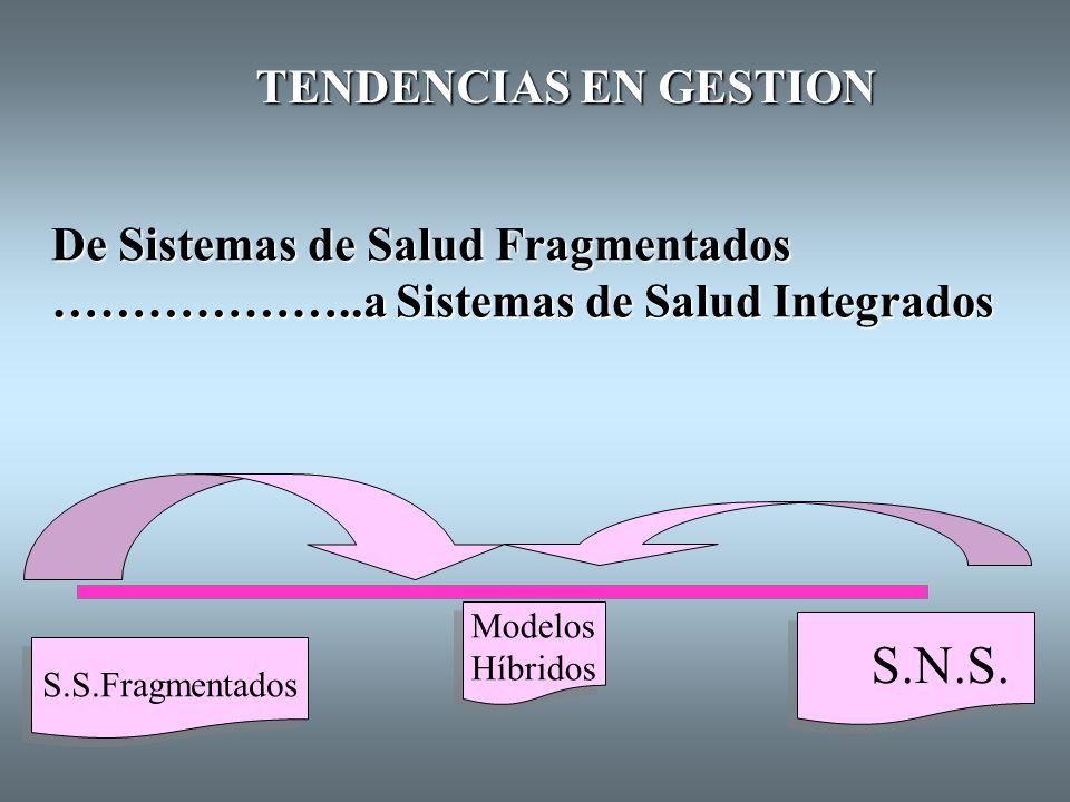 S.N.S. TENDENCIAS EN GESTION De Sistemas de Salud Fragmentados