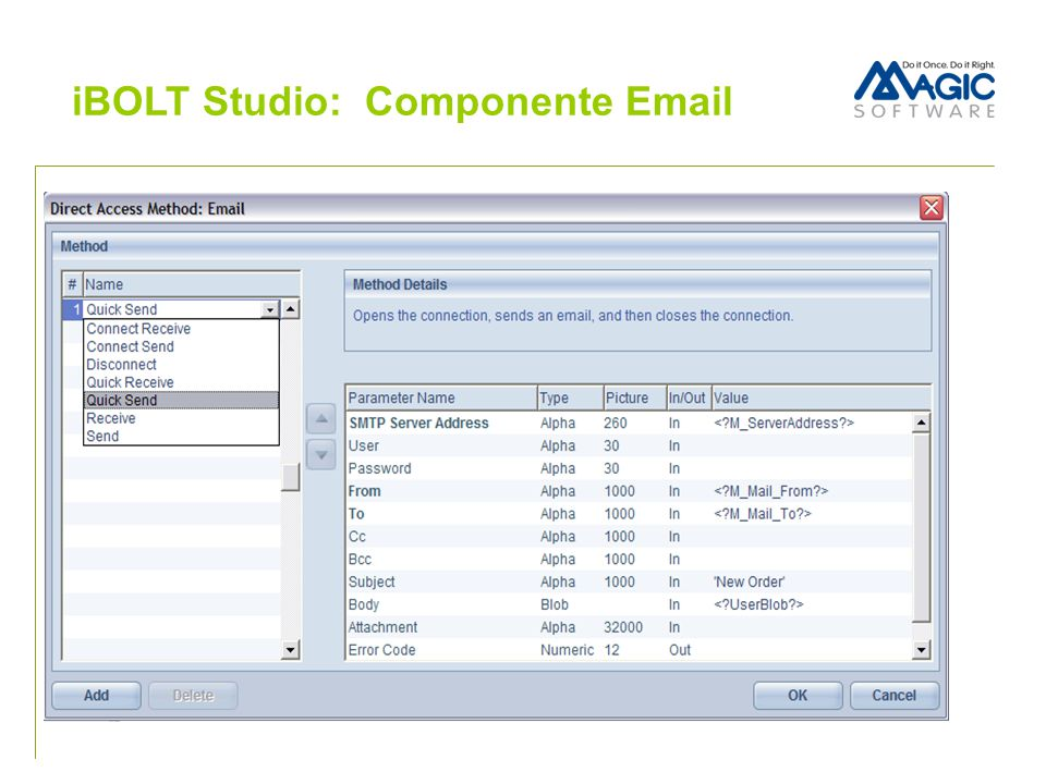 iBOLT Studio: Componente Email