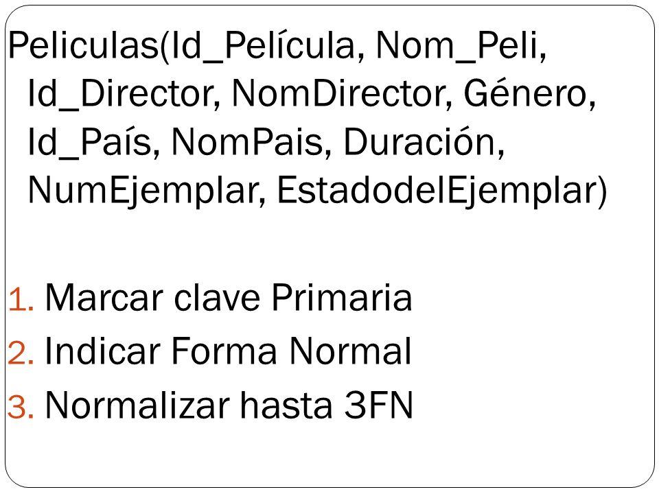 Peliculas(Id_Película, Nom_Peli, Id_Director, NomDirector, Género, Id_País, NomPais, Duración, NumEjemplar, EstadodelEjemplar)