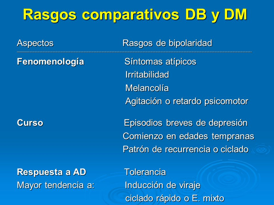 Rasgos comparativos DB y DM