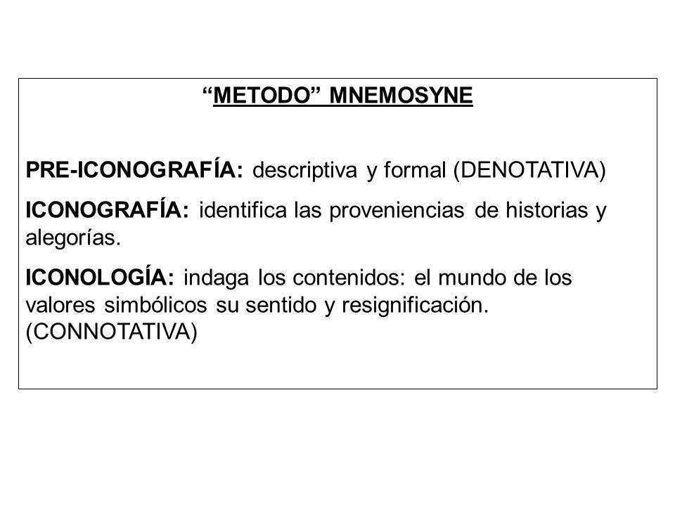 METODO MNEMOSYNE PRE-ICONOGRAFÍA: descriptiva y formal (DENOTATIVA) ICONOGRAFÍA: identifica las proveniencias de historias y alegorías.