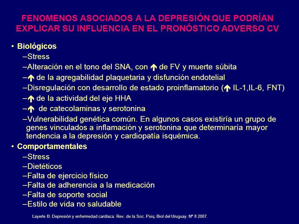 FENOMENOS ASOCIADOS A LA DEPRESIÓN QUE PODRÍAN EXPLICAR SU INFLUENCIA EN EL PRONÓSTICO ADVERSO CV