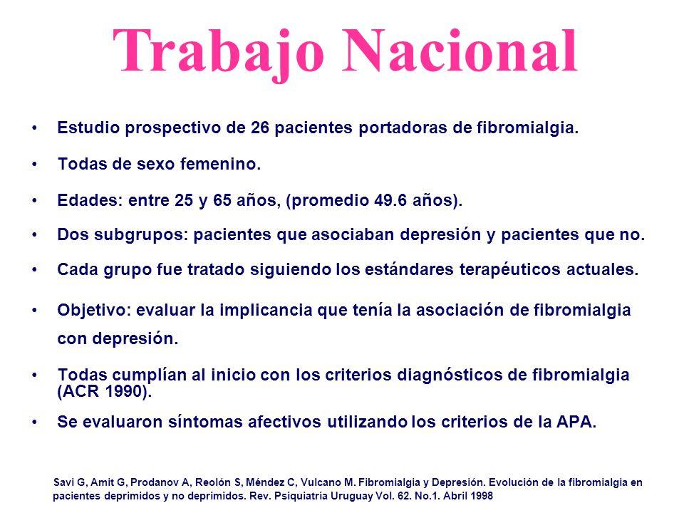 Trabajo Nacional Estudio prospectivo de 26 pacientes portadoras de fibromialgia. Todas de sexo femenino.