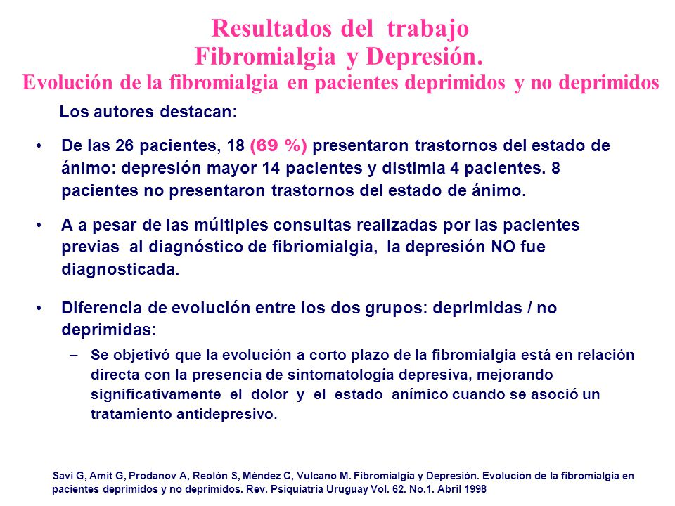 Resultados del trabajo Fibromialgia y Depresión