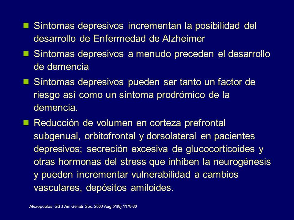 Síntomas depresivos a menudo preceden el desarrollo de demencia