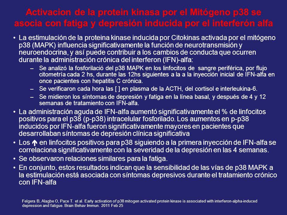 Activacion de la protein kinasa por el Mitógeno p38 se asocia con fatiga y depresión inducida por el interferón alfa