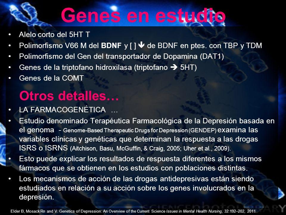 Genes en estudio Otros detalles… Alelo corto del 5HT T