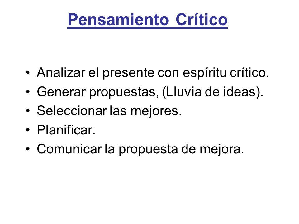 Pensamiento Crítico Analizar el presente con espíritu crítico.