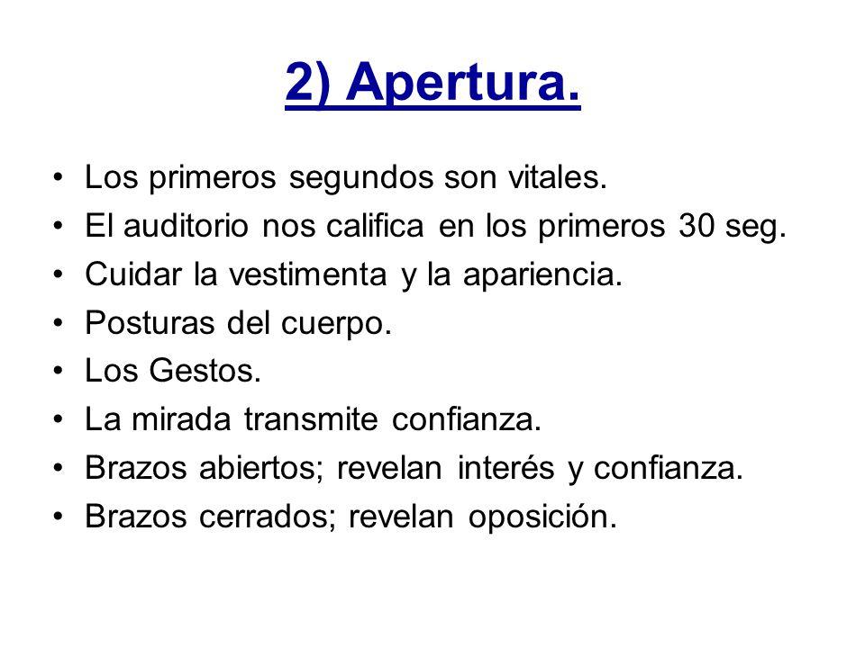 2) Apertura. Los primeros segundos son vitales.