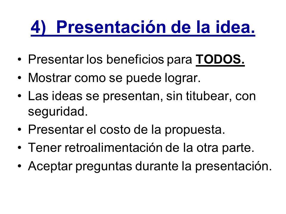 4) Presentación de la idea.