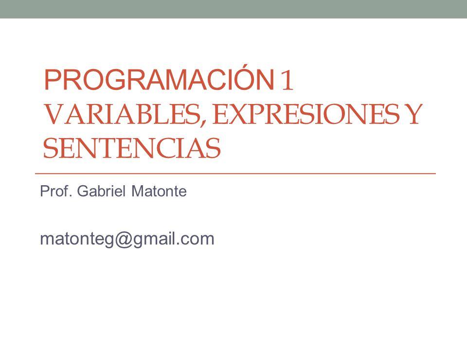 Programación 1 Variables, expresiones y sentencias