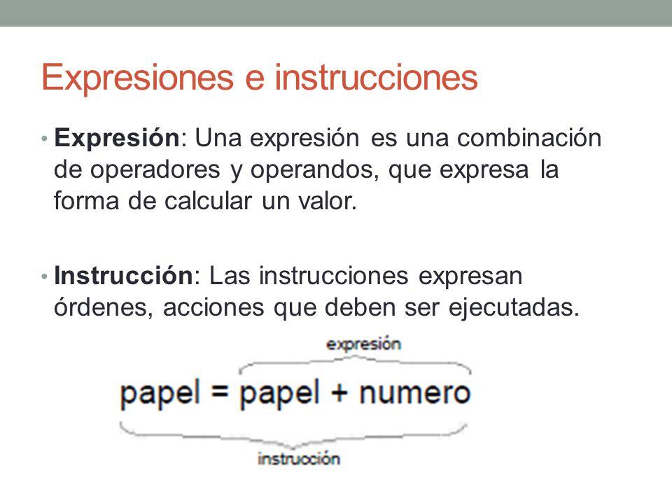Expresiones e instrucciones